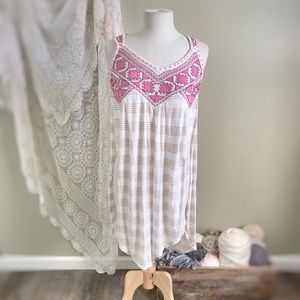FREE PEOPLE | Boho Embroidered Striped Maxi Top